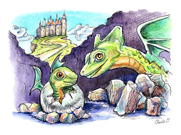 Dragon Baby Watercolor Print Detail