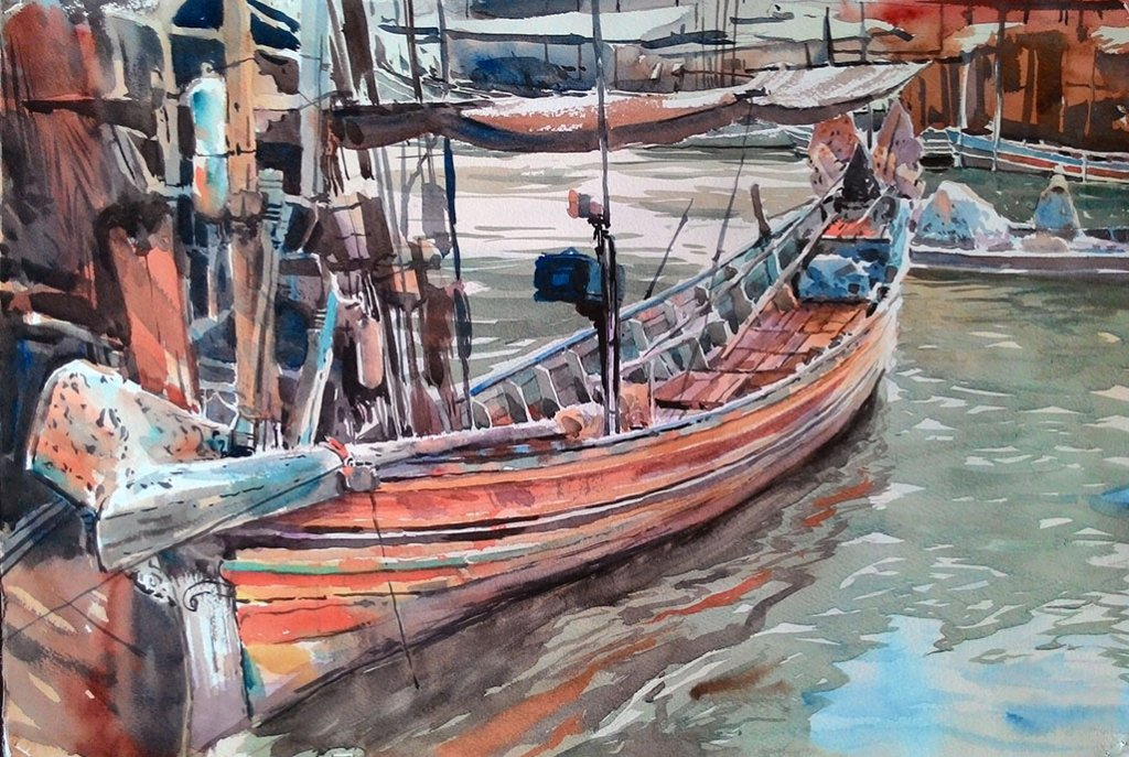 FISHERMAN FROM THE SOUTH 2 watercolour painting by Abey Zoul