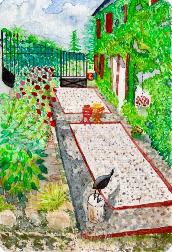 Garden Watercolor Painting by Deborah Ann Waugh