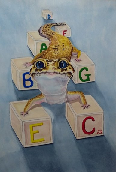 Gecko ABC Blocks Watercolor by Teresa Whyman Tesartmania