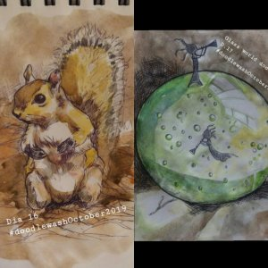Days 16 and 17 squirrel and glass world 🙂 🙂 🙂 #doodlewashOctober2019 IMG_20191017_162125