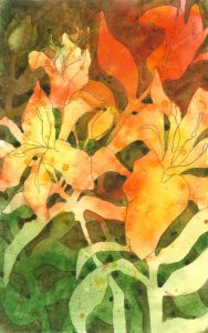Lilies 1: Art Journal page Watercolor and pencil This was done in my sketchbook, as I was planning a