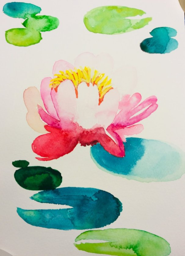 Lotus Flower Watercolour Painting
