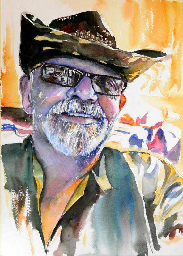Man Sunglasses Portrait Watercolor Painting Kathleen M Ward