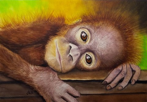 Monkey Watercolor by Watercolor by Teresa Whyman Tesartmania