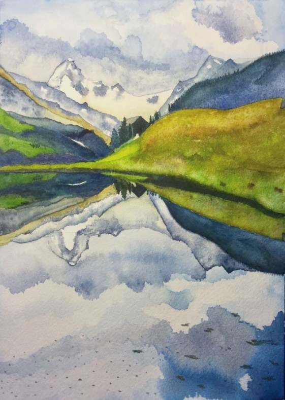 Mountains Watercolor Painting