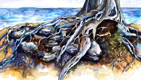 Resilience - Tree Roots Watercolor by Brenda Jiral