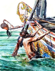 SEA WARRIOR Watercolour Painting by Abey Zoul