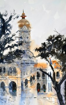 SULTAN ABDUL SAMAD TOWER Watercolour by Abey Zoul