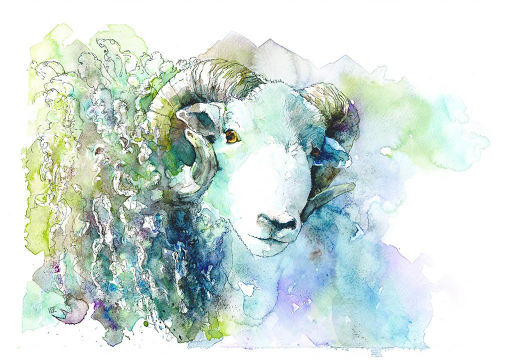 Sheep Watercolor Painting