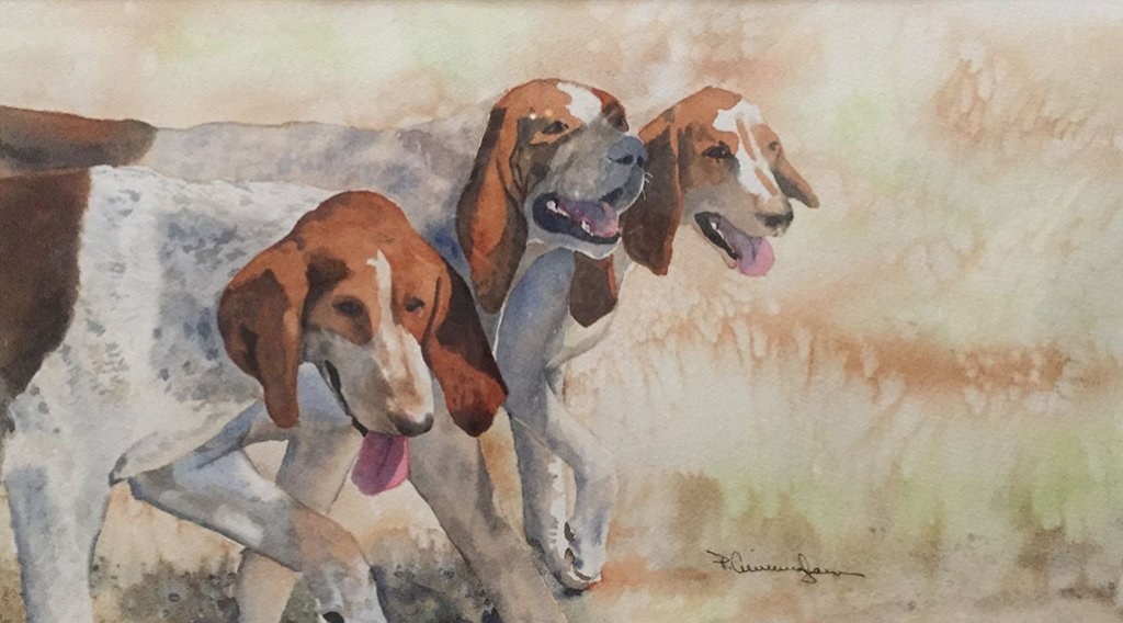 Three Dogs watercolor Brenda Cunningham