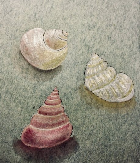 Three Seashells Watercolor Ariel Blocker