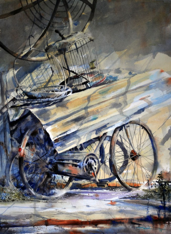 WHEN THE TIME COMES Bicycle watercolour by Abey Zoul