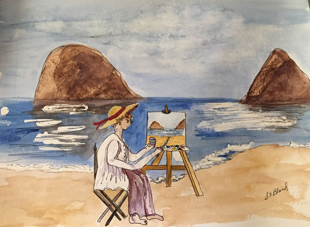2 Watercolor Painting Beach Shirley E Bland