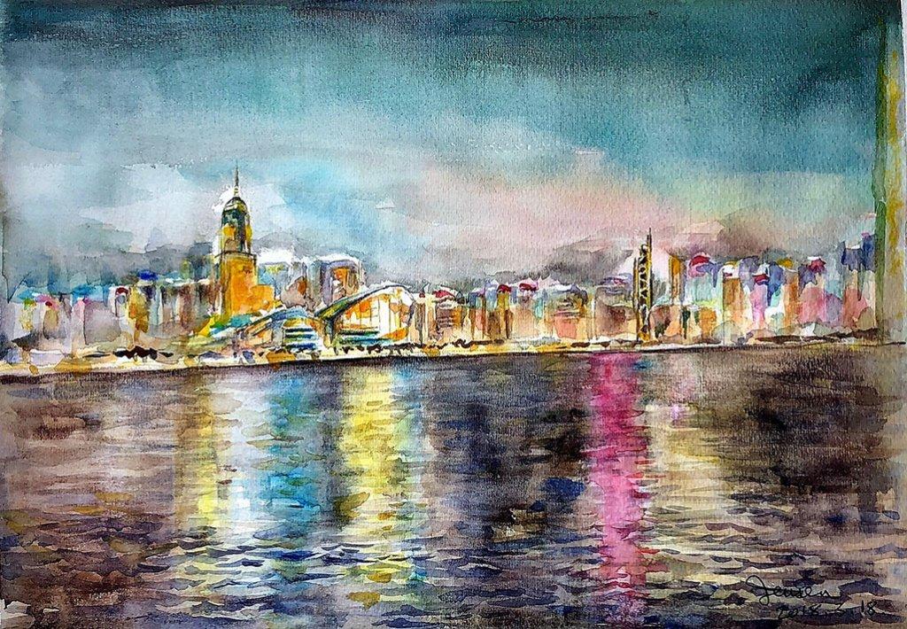 Hong Kong At Night Watercolor Painting by Jensen Cheong