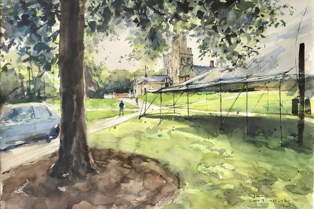 Glimpse of Princeton U Campus Watercolor painting by Jensen Cheong