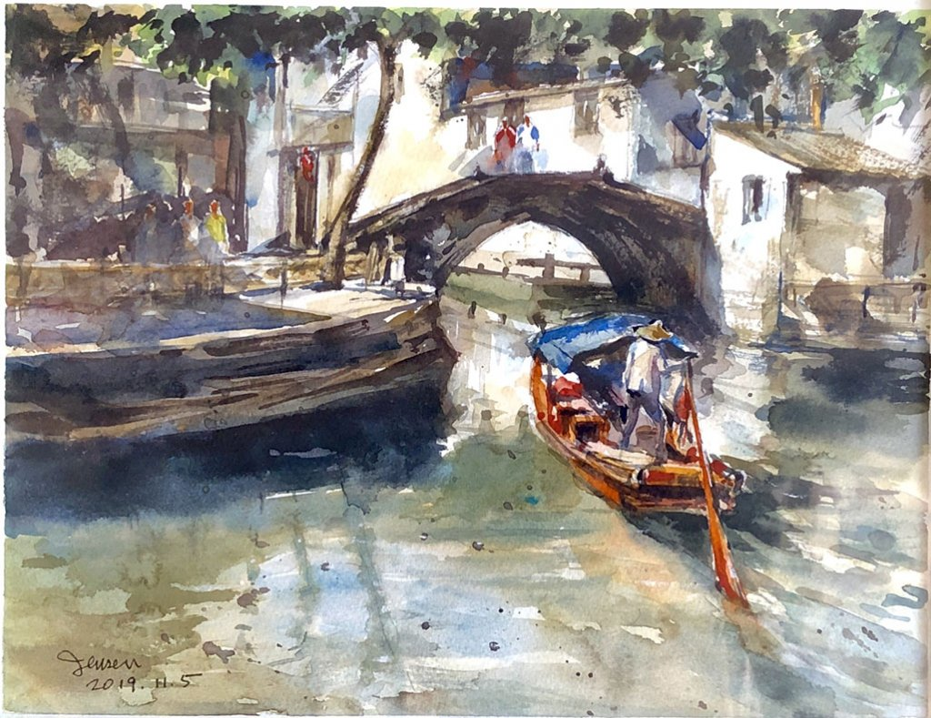 Watercolor Village Watercolor Painting by Jensen Cheong