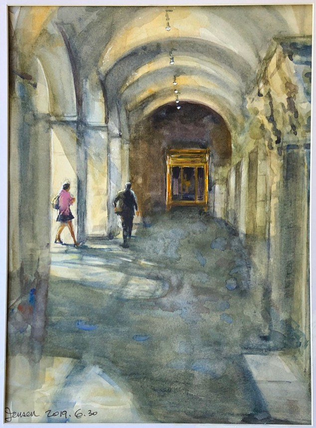 Harvard Museum Watercolor Painting by Jensen Cheong