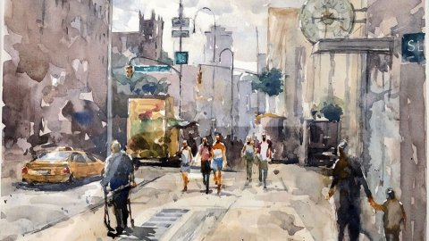 14th Street Manhattan Watercolor painting by Jensen Cheong