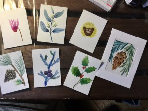 Artist trading cards waiting to be framed for Xmas 376327F3-4011-4C52-8E4A-DF99F68EF331