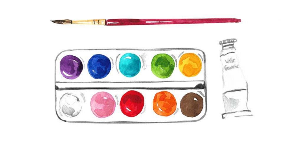 4-divider Watercolor Painting Set Sketch