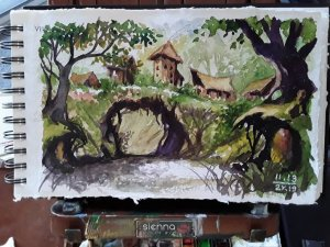 """""""Village"""", The 13th Day of November Art Challenge 2019, Watercolor painting/sketch on sk"""