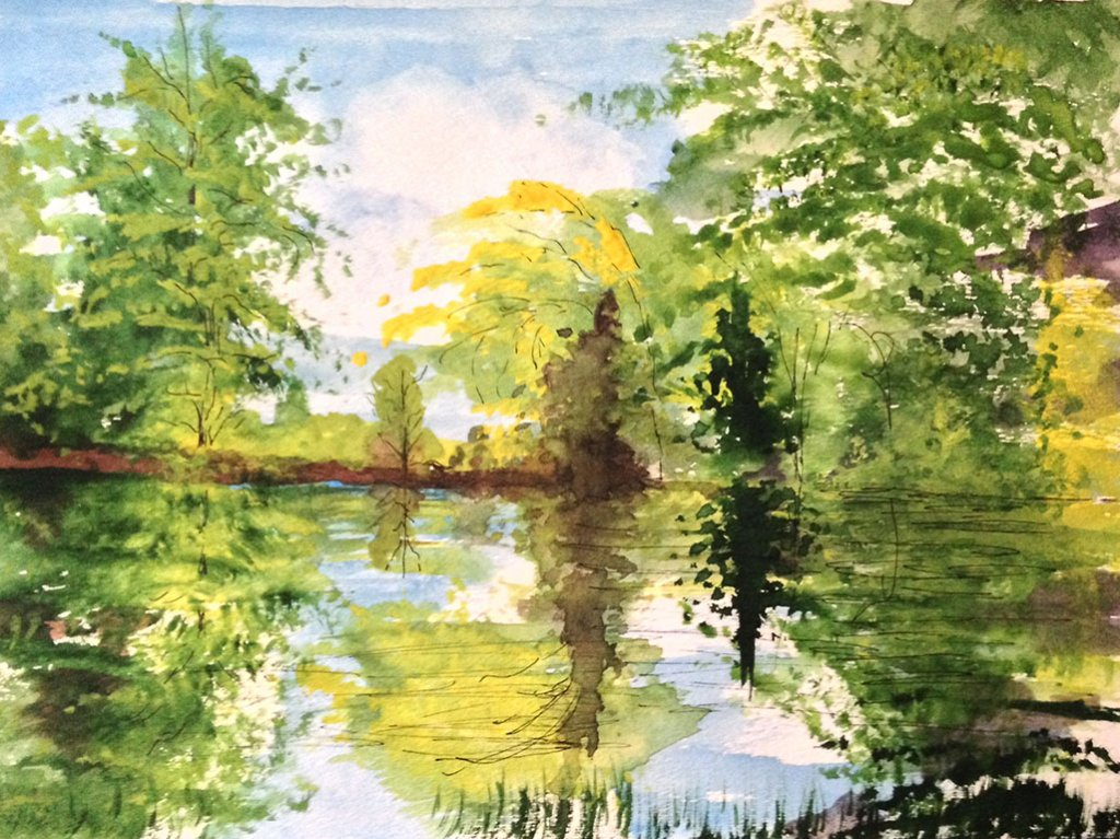 9e Watercolor Trees Reflection Painting