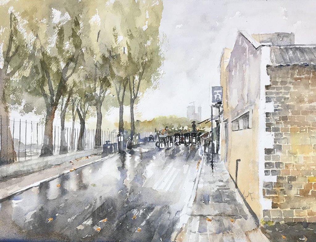 After the rain watercolour painting by Vidya Lalgudi Jaishankar