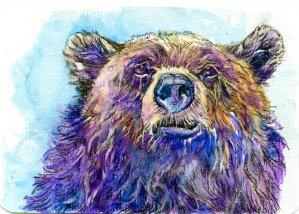 Bear Faced – #PostcardsForTheLunchBag Zebra Zensations Technical pens and Miya Gouache on Hahnemü