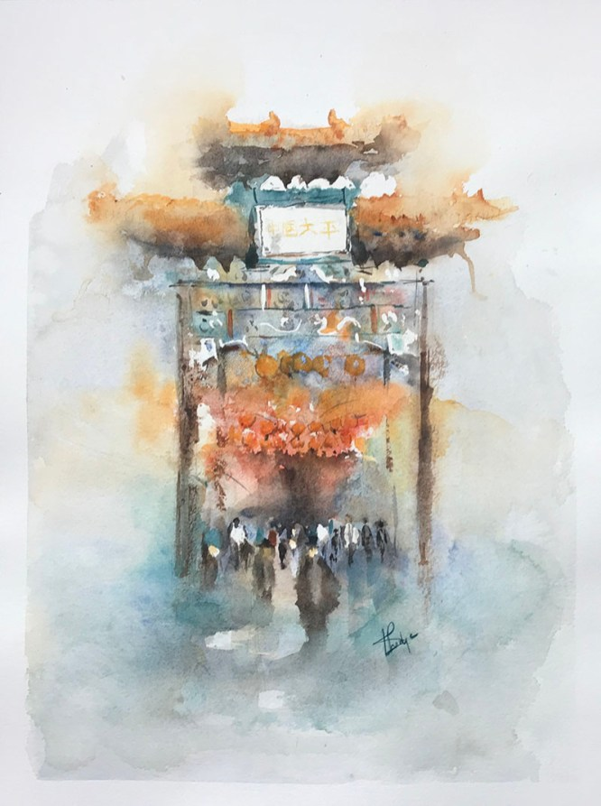 Chinatown London Watercolour Painting