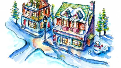 Christmas Village Watercolor Illustration