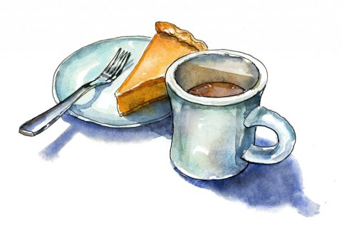 Coffee And Pumpkin Pie Watercolor Illustration