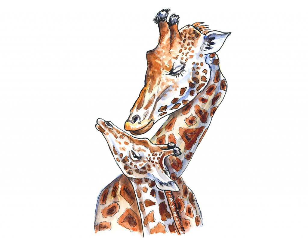 Giraffe Mother And Baby Watercolor Painting