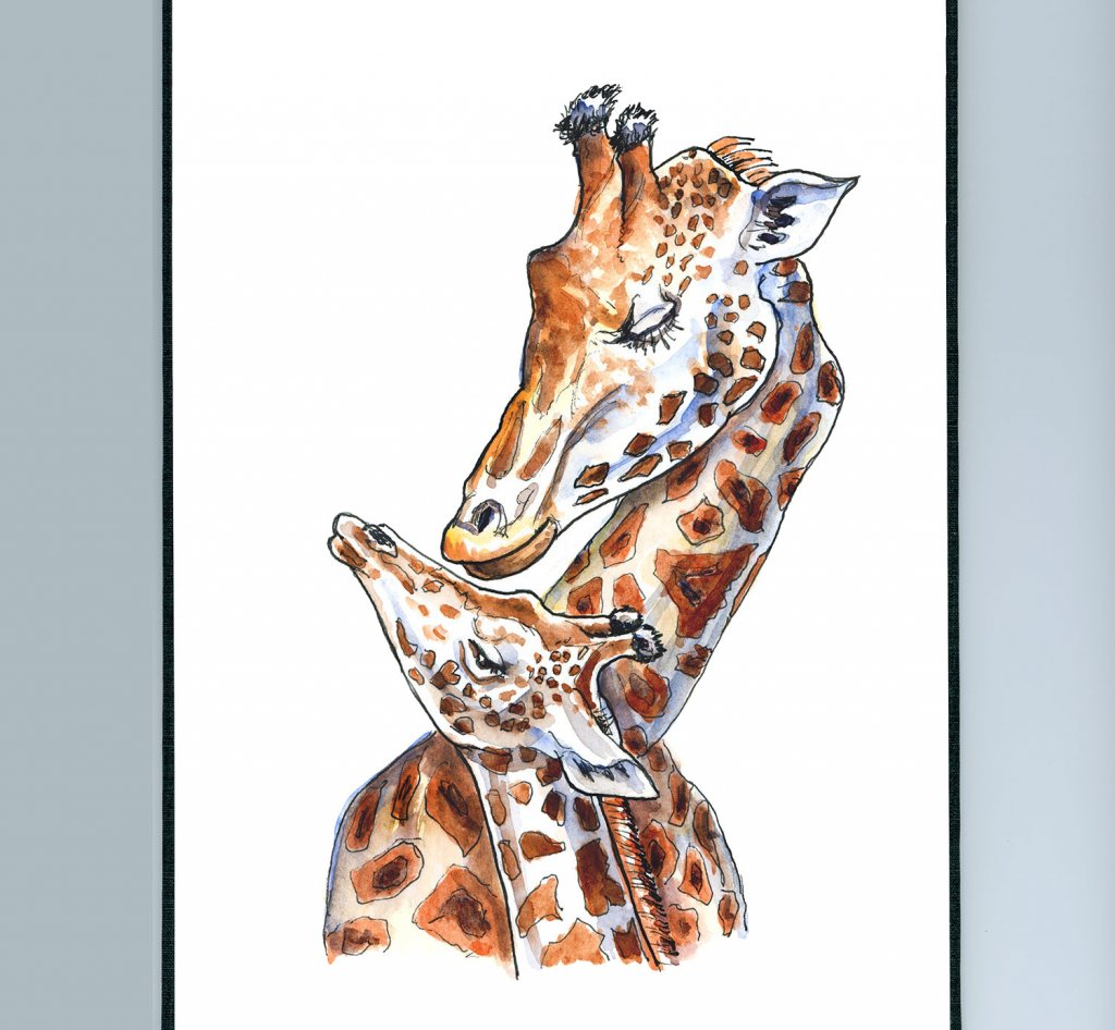 Giraffe Mother And Baby Watercolor Painting Sketchbook Detail