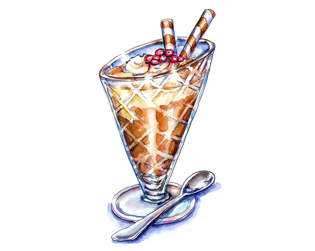 Sundae Glass Watercolor Painting