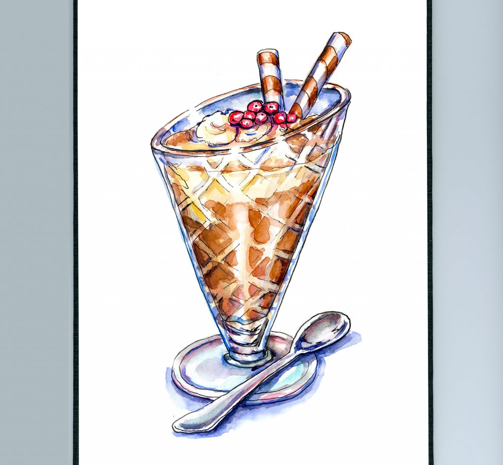 Sundae Glass Watercolor Painting Sketchbook Detail