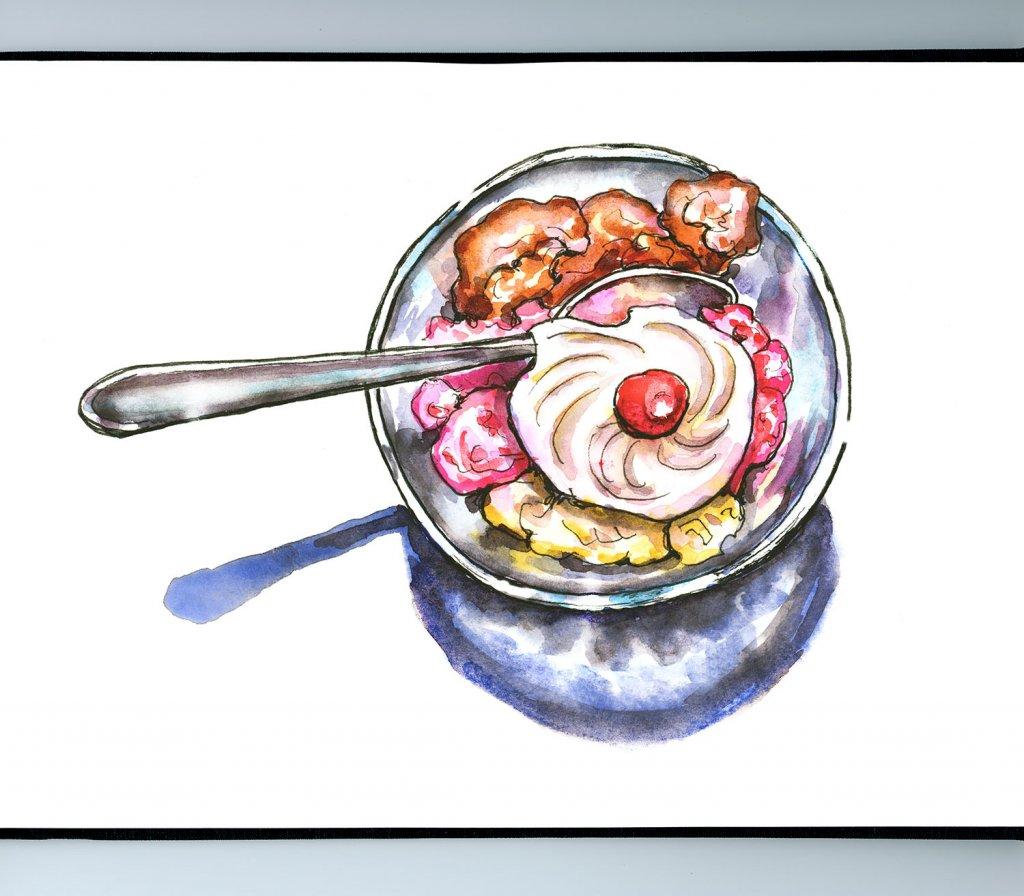 Neapolitan Ice Cream Watercolor Illustration Sketchbook Detail