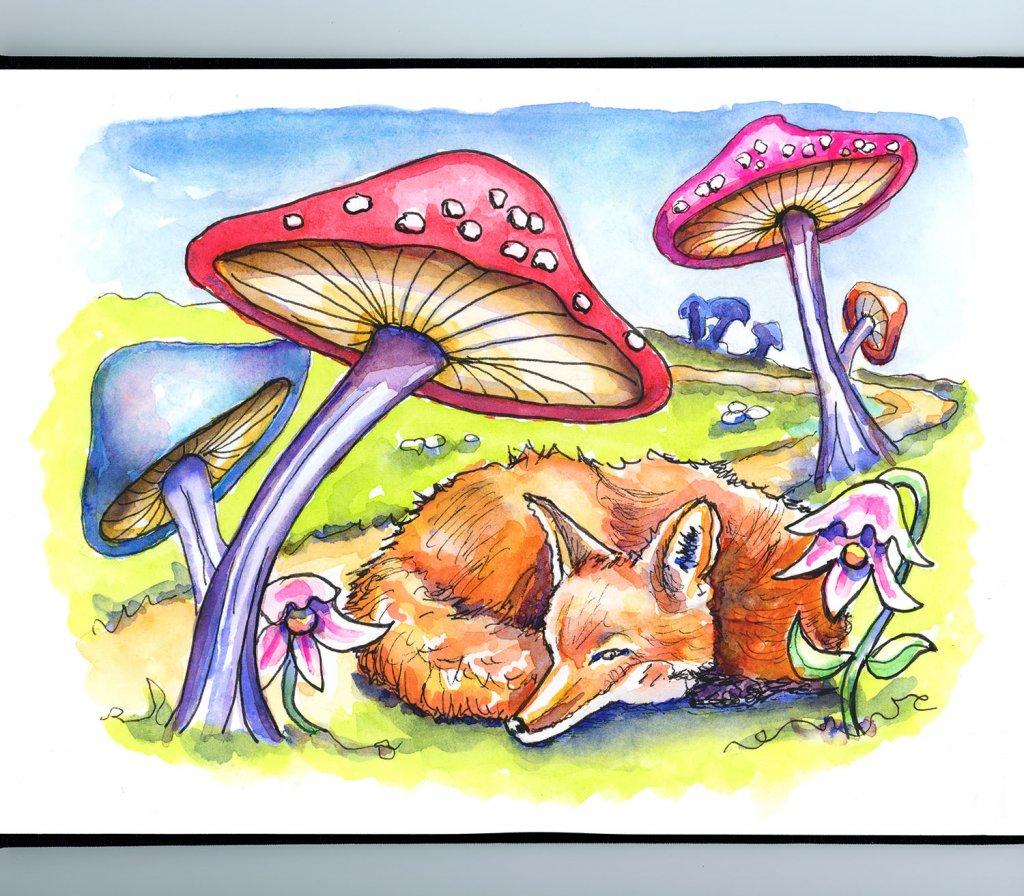 Fairytale Mushroom Fox Watercolor Illustration Sketchbook Detail