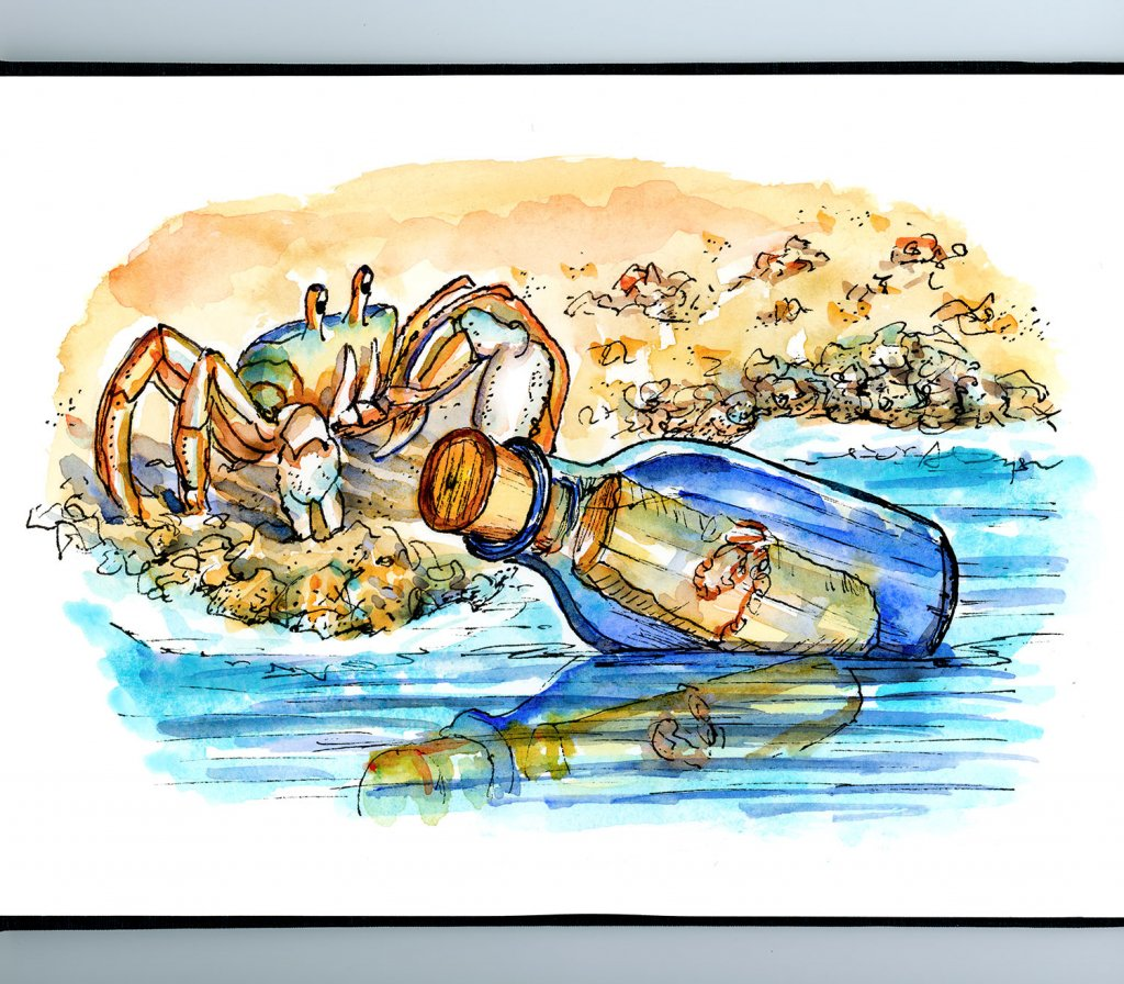 Ghost Crab Message In A Bottle Watercolor Illustration Sketchbook Detail