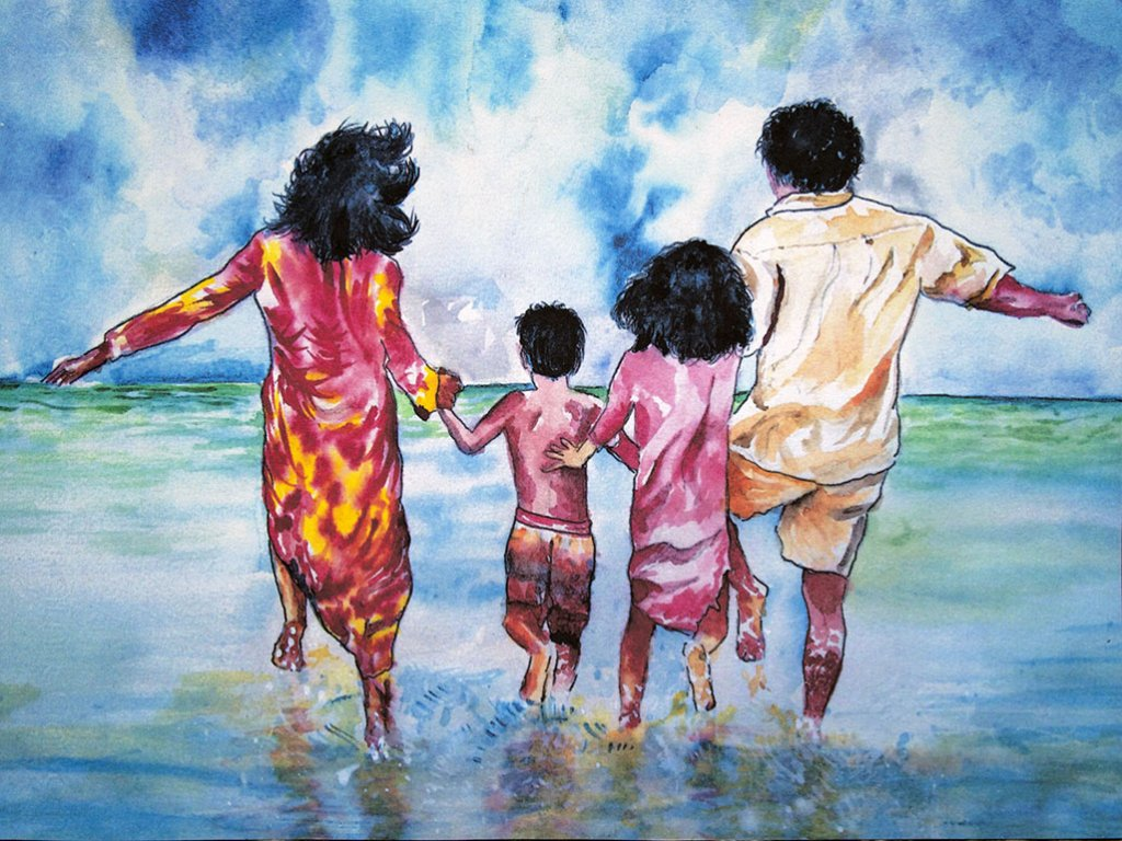 Happy Family In Water Watercolor by Atique Ahmed