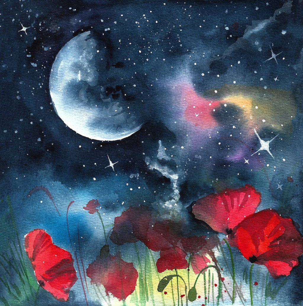 Galaxy Watercolor Painting by Anna Koliadych DearAnnArt