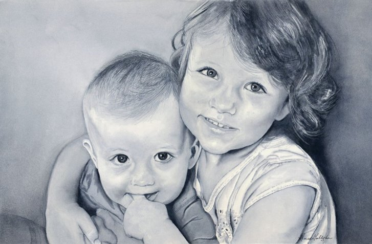 Little Sister And Brother Black And White Watercolor Portrait