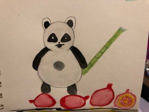 My panda with his bamboo standing on pomegrantes 🙂 IMG_3870
