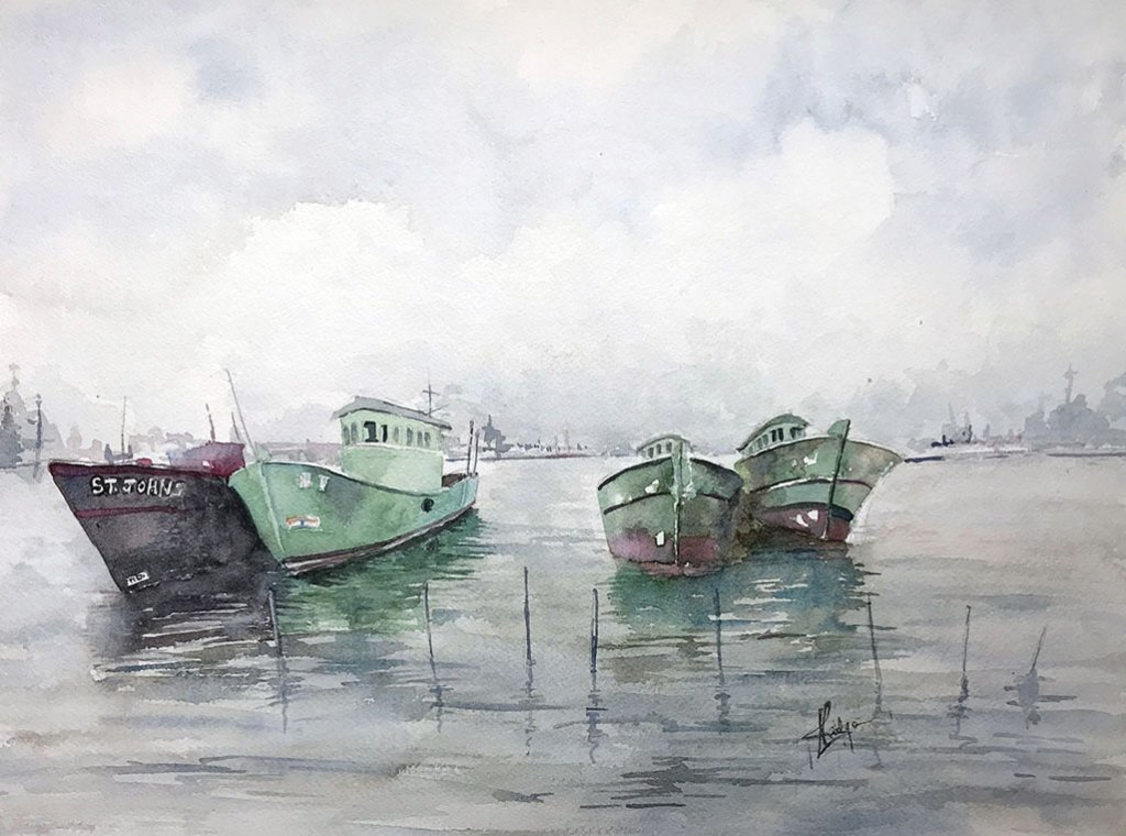 Kochi boats watercolour painting