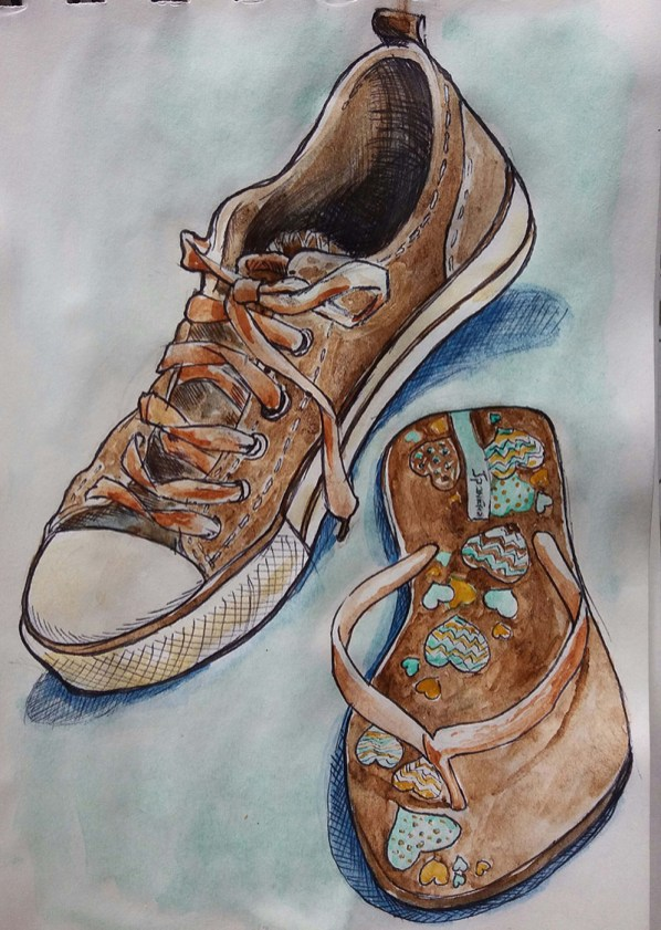 Shoes Watercolor Painting