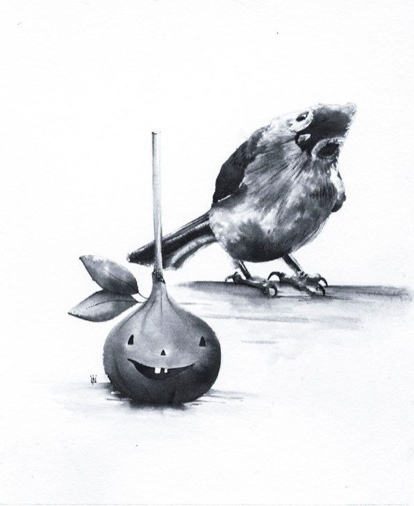 TastyTitmouse Ink Drawing by Lori Nass