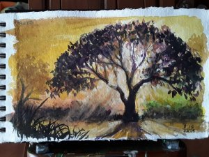 """""""TREES"""", The 15th Day of November Art Challenge 2019, Watercolor painting/sketch on sket"""
