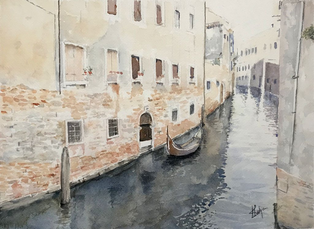 Venice canal watercolour painting by Vidya Lalgudi Jaishankar