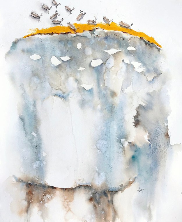 abstract watercolour painting gouging tundra