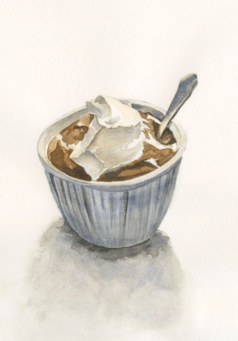 pudding whipped cream watercolor by Lori Nass
